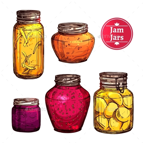 Colored Jam Jars - Food Objects