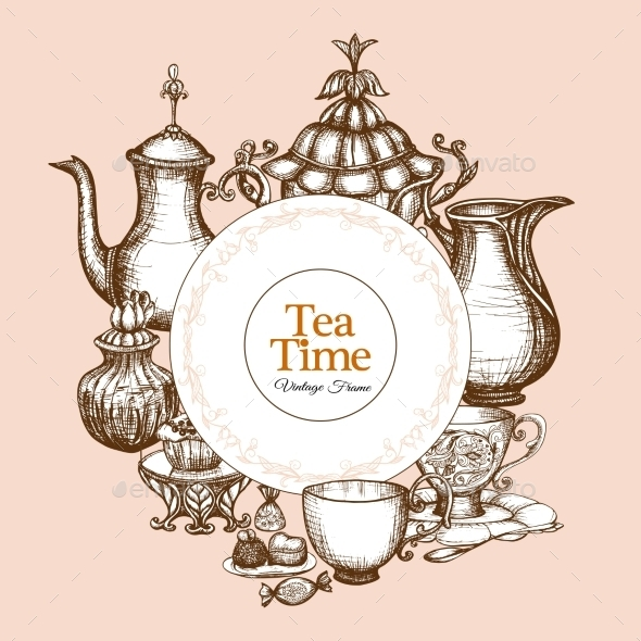 Vintage Tea Frame - Food Objects
