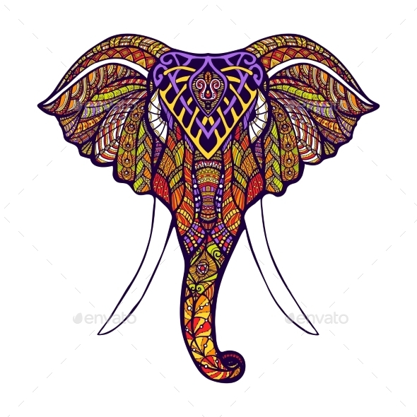 Elephant Head Colored - Animals Characters