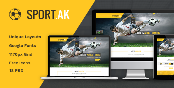 Sport.AK — Soccer Club and Sport PSD Template