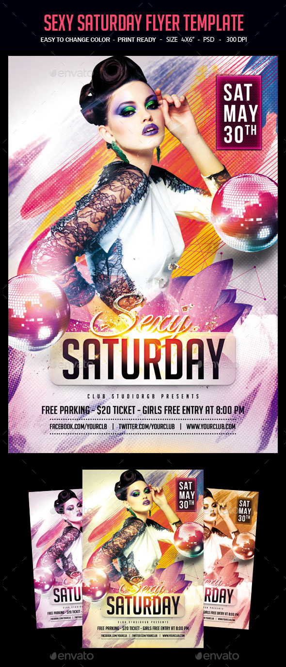Sexy Saturday Flyer Template - Clubs & Parties Events