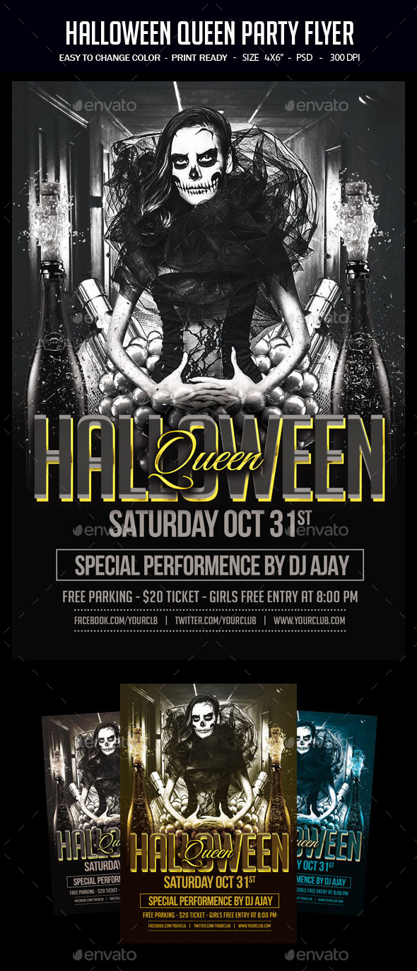 Halloween Queen Party Flyer - Clubs & Parties Events