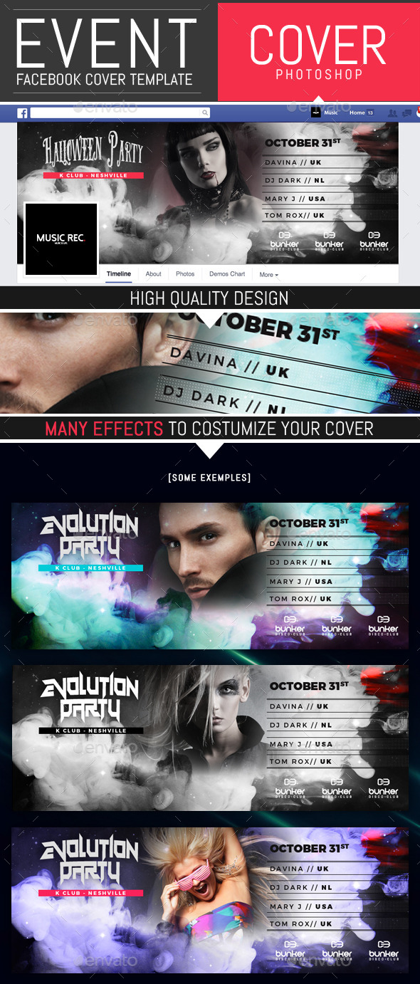 Event Party and Dj Facebook Cover Template by DogmaDesign | GraphicRiver