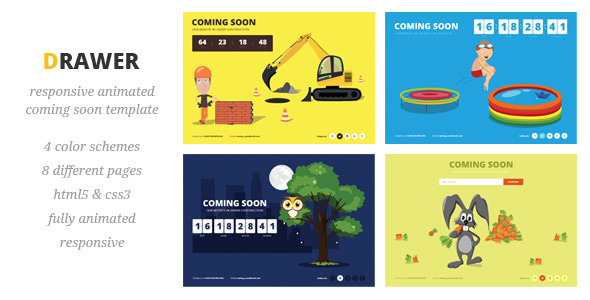 Drawer - Responsive Animated Coming Soon Template - Under Construction Specialty Pages