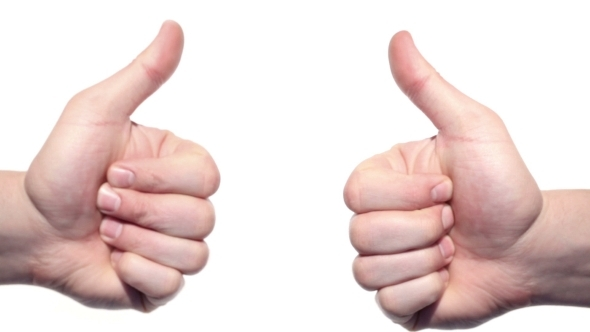 Two Thumbs Up Isolated On a White Background. by Grey ...