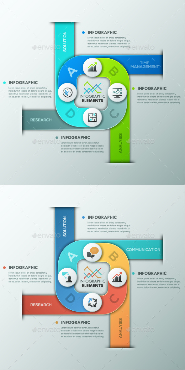 Modern Infographics Paper Template 2 Colors