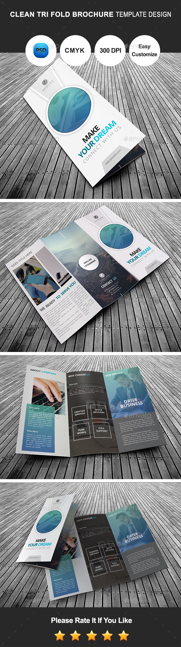 Clean Tri Fold Brochure Template Design - Corporate Brochures