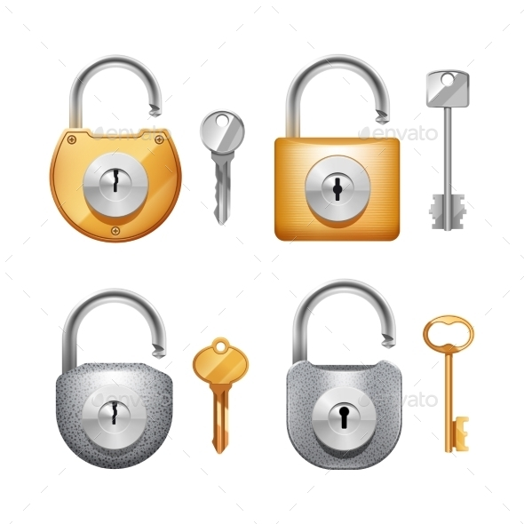 Padlocks and Keys Realistic Set - Man-made Objects Objects