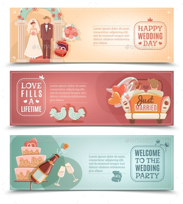 Wedding Concept Flat Banners Set