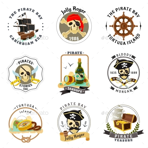 Pirate Emblems Stickers Set  - Miscellaneous Vectors