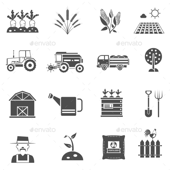 Agriculture Icons Set - Miscellaneous Vectors