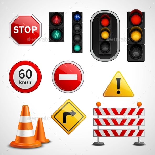 Traffic Signs and Lights Pictograms Collection  - Miscellaneous Conceptual