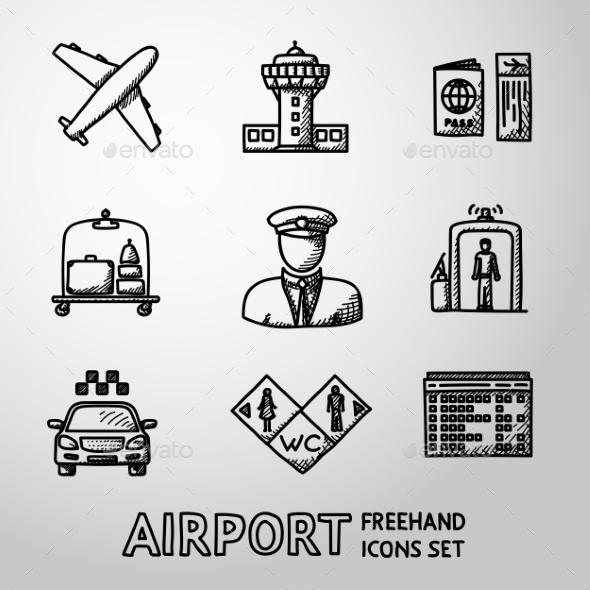 Set Of Handdrawn AIRPORT Icons - Airplane, Airport - Icons