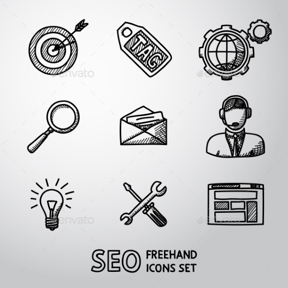 Set Of SEO Handdrawn Icons - Target With Arrow - Icons