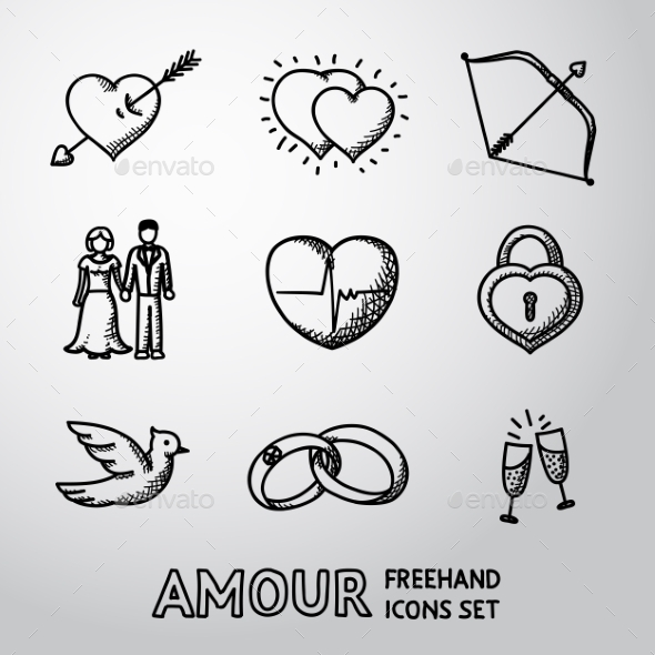 Set Of Handdrawn Love, Amour Icons  - Heart With - Icons