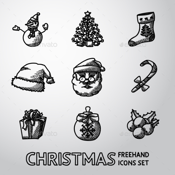 Set Of Freehand CHRISTMAS Icons - Snowman, Tree - Icons