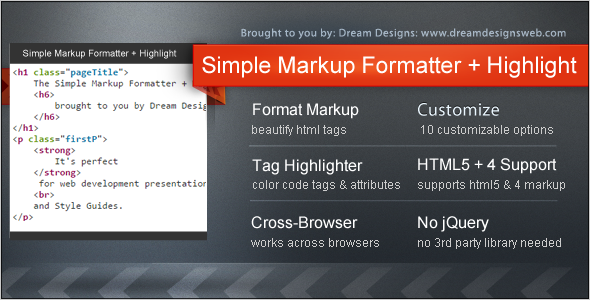 Simple Markup Formatter + Highlight - CodeCanyon Item for Sale