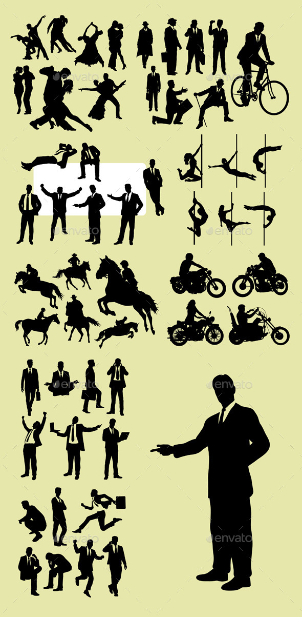 Business and Hobby Silhouettes - People Characters