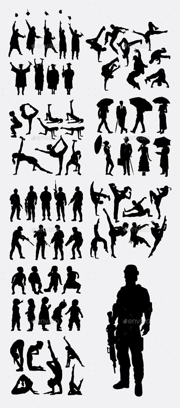 Male and Female Activity Silhouettes - People Characters
