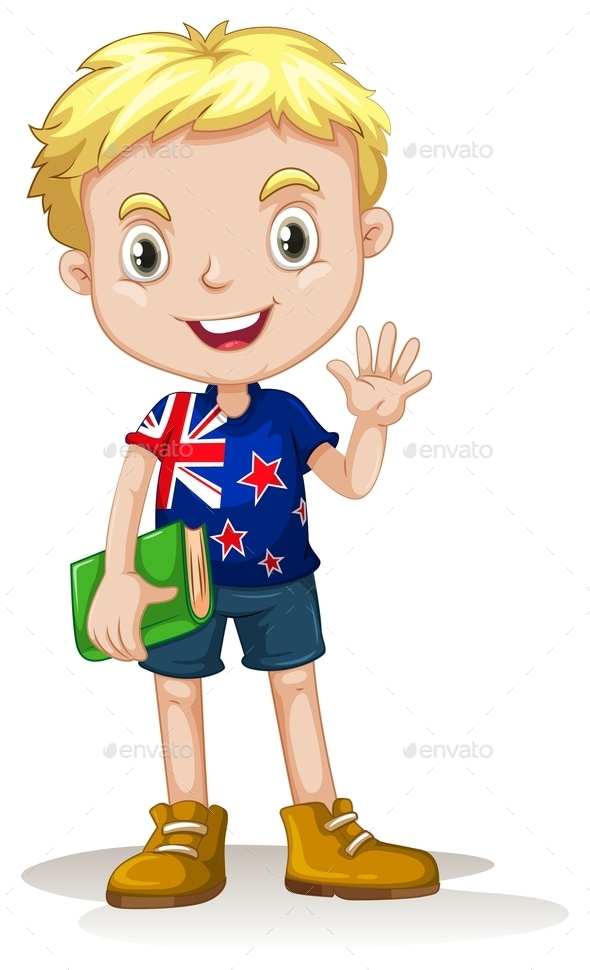 New Zealand Boy Carrying a Book - People Characters