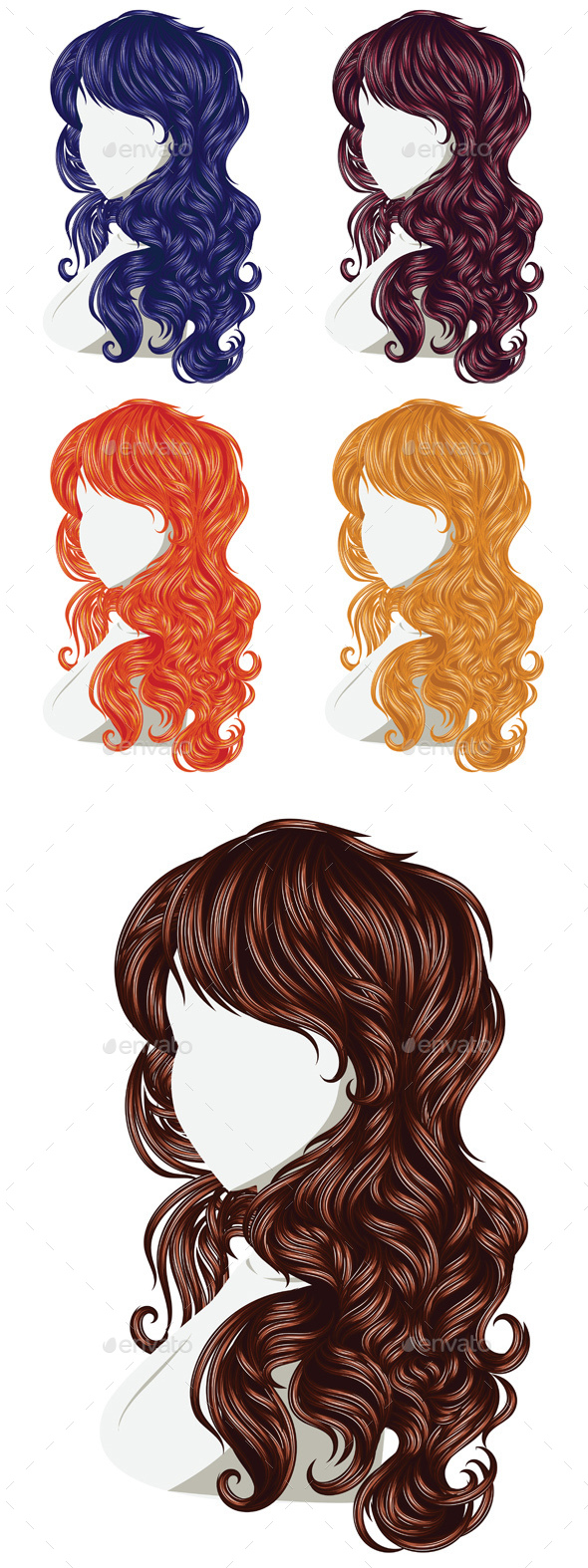 Curly Hair Style - Miscellaneous Vectors