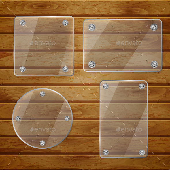 Transparent Glass Plates On Wooden Planks - Borders Decorative