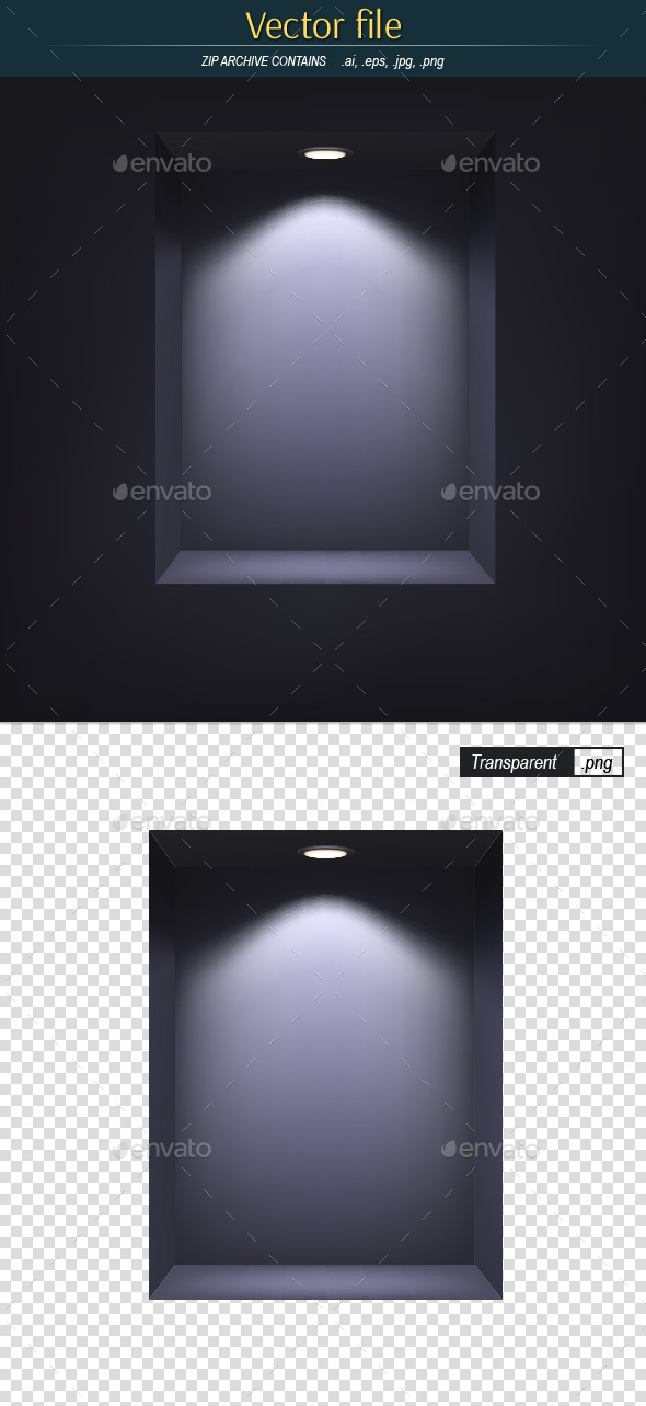 Dark Niche with Illuminated Light - Backgrounds Decorative