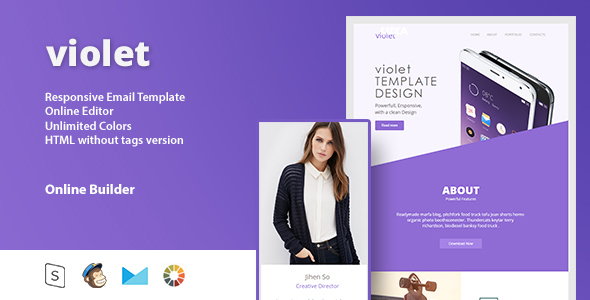 violet - Responsive Email Template + Online Editor - Email Templates Marketing