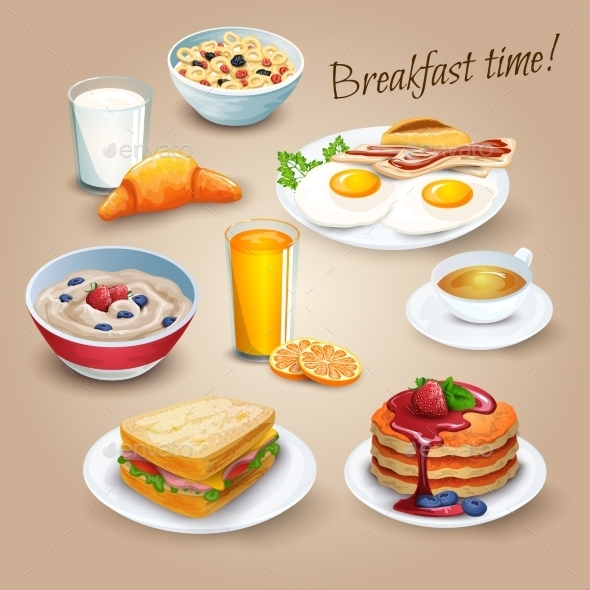 Breakfast Time Realistic Pictograms Poster - Miscellaneous Conceptual