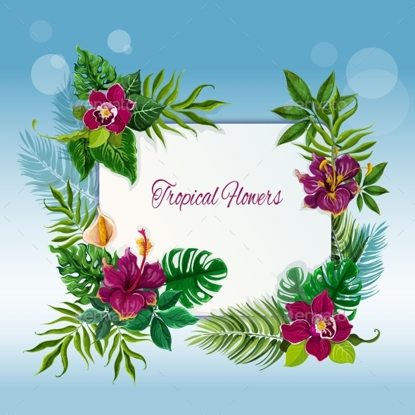 Tropical Flowers And Leaves Frame - Decorative Vectors