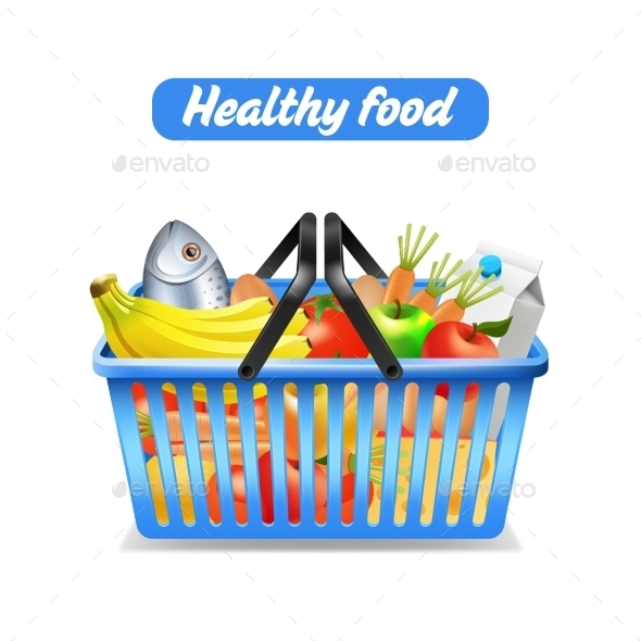 Supermarket Shopping Basket - Food Objects