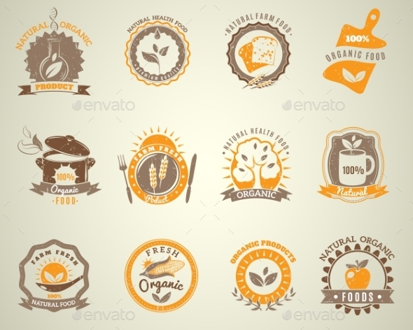 Organic Food Vintage Style Labels Set  - Organic Objects Objects