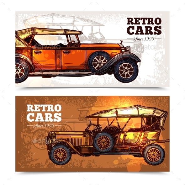 Retro Cars Banner Set - Miscellaneous Vectors