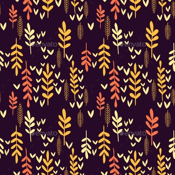 Decorative Seamless Autumn Pattern.  - Backgrounds Decorative