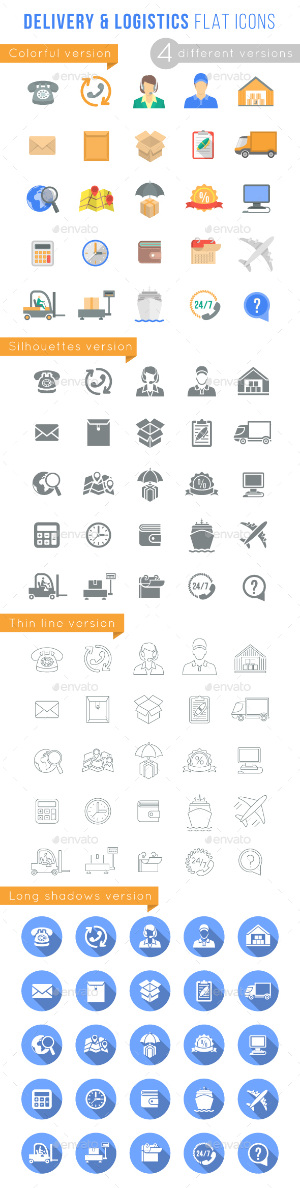 Delivery and Logistics Services Flat Web Icons