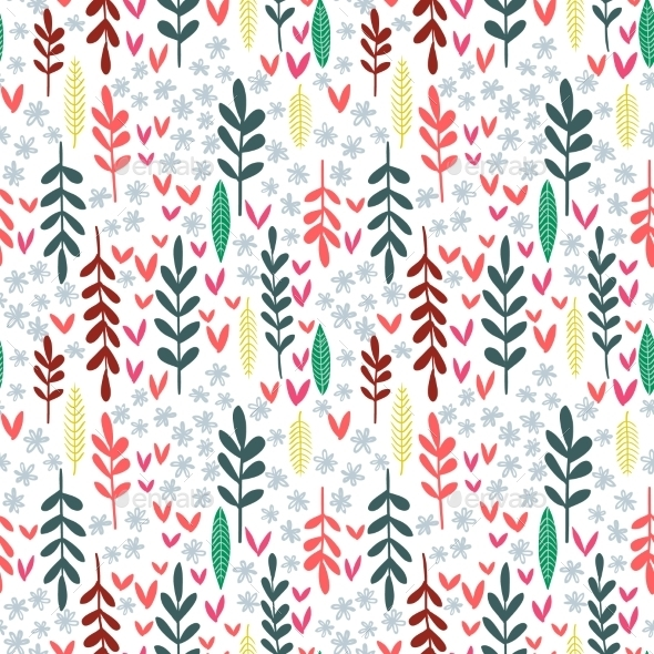 Hand Drawn Leaf Seamless Pattern.  - Flowers & Plants Nature