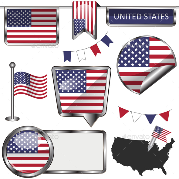 Glossy icons with flag of United States - Travel Conceptual