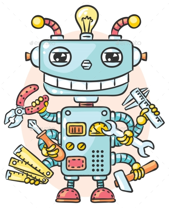 Cute Robot With Six Hands Holding Different - Monsters Characters