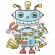 Cute Robot With Six Hands Holding Different - GraphicRiver Item for Sale