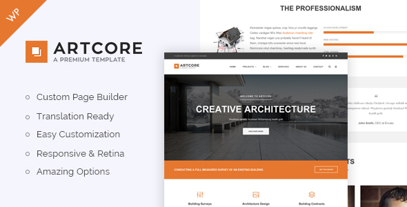 Artcore - Building Architecture WordPress Theme - Business Corporate