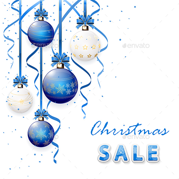 Christmas Sale with Blue Balls - Christmas Seasons/Holidays