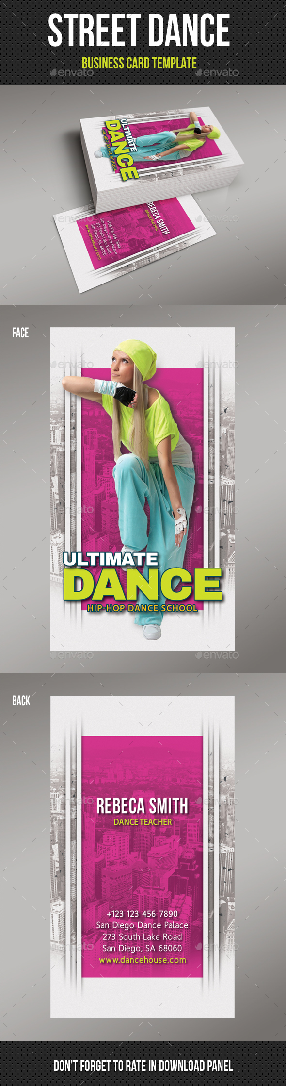 Street Dance School Business Card - Industry Specific Business Cards