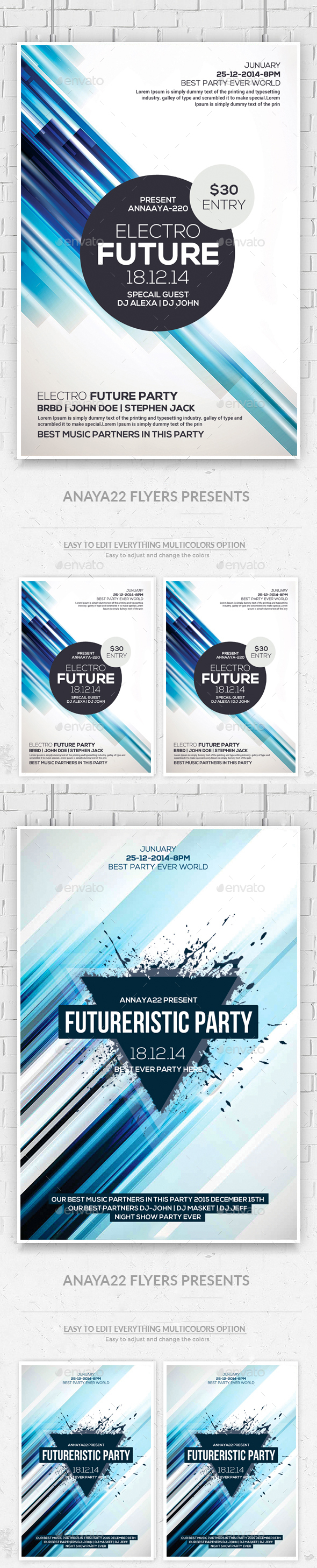 Minimal Abstract Flyers Bundle