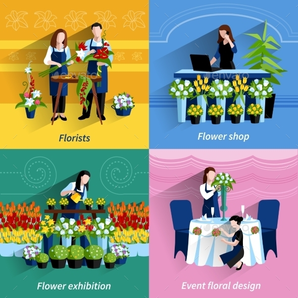 Florist 4 Flat Icons Square Composition - Services Commercial / Shopping