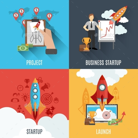 Rocket Startup Flat Square Composition Poster - Concepts Business