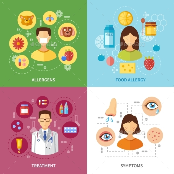Various Allergy Symptom Types - Health/Medicine Conceptual