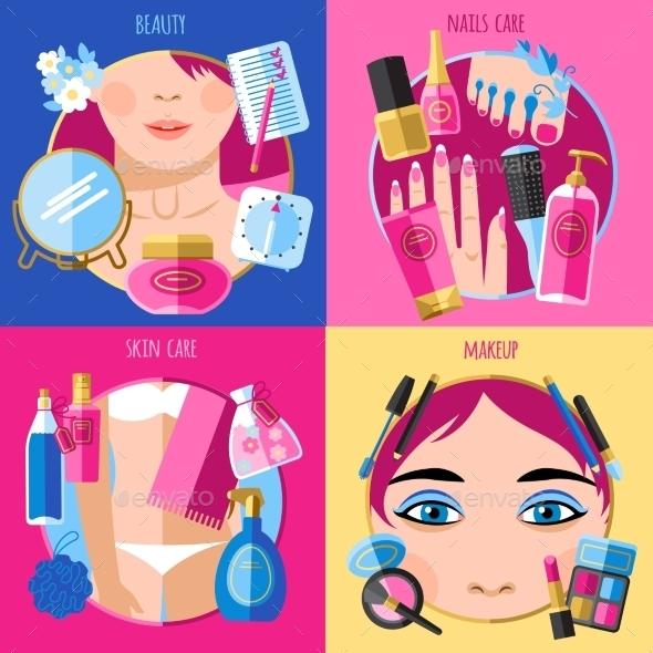 Makeup Beauty 4 Flat Icons Squares