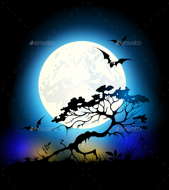 Halloween Background with Moon - Halloween Seasons/Holidays