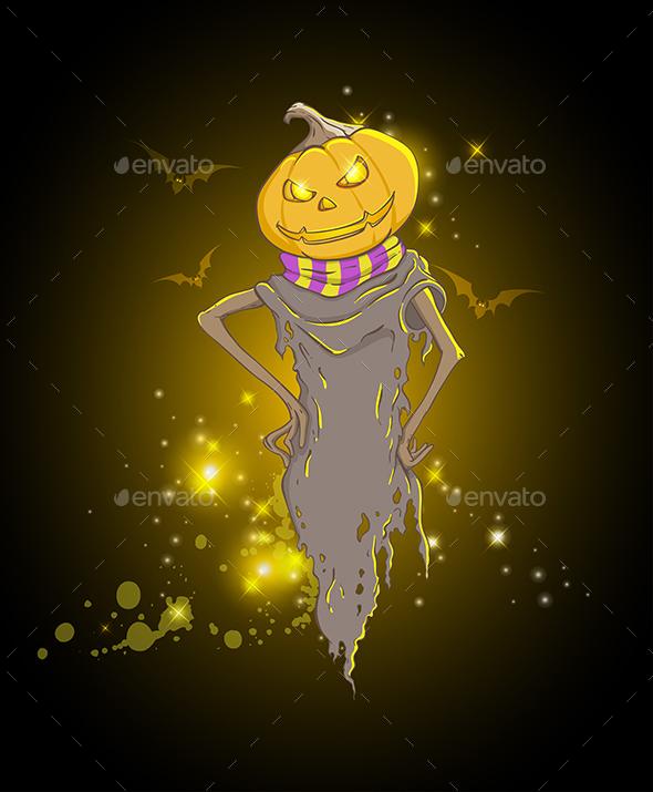 Background with Spooky Pumpkin - Halloween Seasons/Holidays