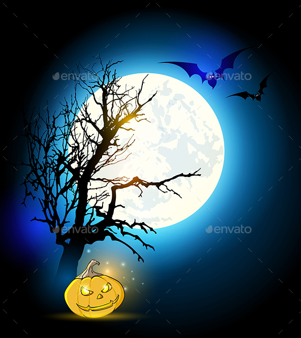 Silhouette of Tree and Pumpkin - Halloween Seasons/Holidays